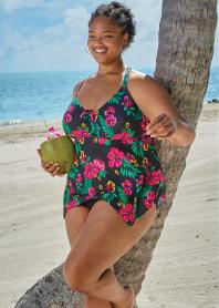 Birdsong Polynesian Floral Tankini Top