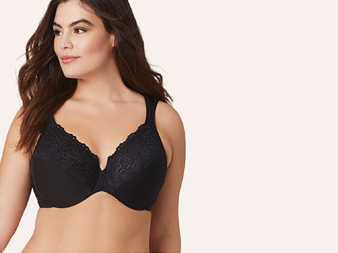 Woman in Glamorise underwire bra from Bare Necessities