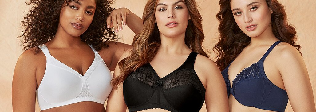 Woman in Glamorise plus size bra from Bare Necessities